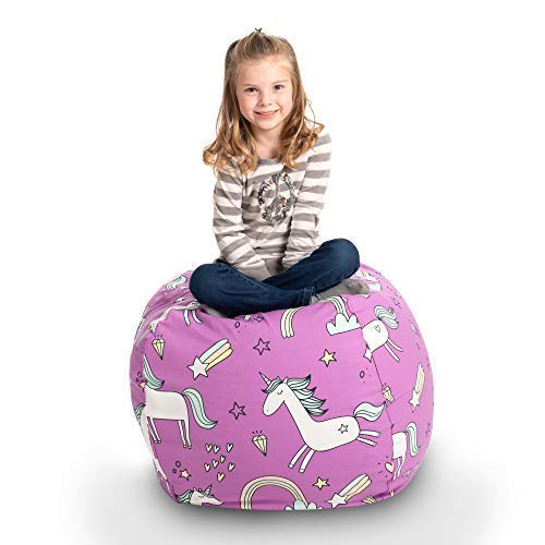 "Creative Qt Stuffed Animal Storage Bean Bag Chair - Large Stuff 'N sitzen Organization für Kids Toy Storage - Available bei ein Variety von Sizes und Colors (33"", Unicorn)"