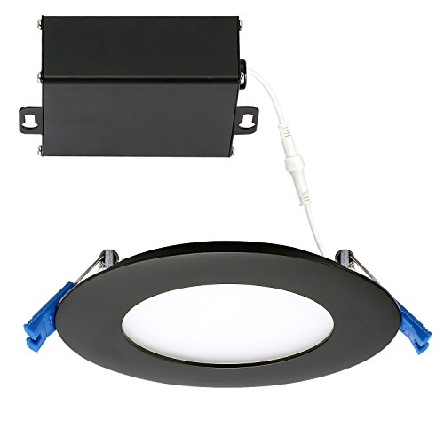 (GetInLight Slim Dimmable 4 Inch LED Recessed Lighting, Round Ceiling Panel, Junction Box Included, 4000K(Bright White), 9W(45W Equivalent), 600lm, Black Finished, cETLus Listed, IN-0303-2-BK-40)
