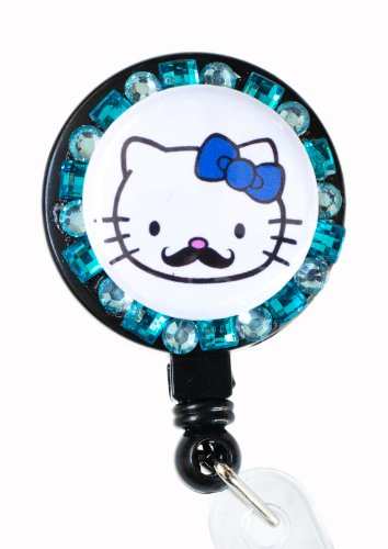 New Custom Bling Hello Kitty Mustache Rhinestone Badge Reel Retractable ID Badge Holder (Turquoise)