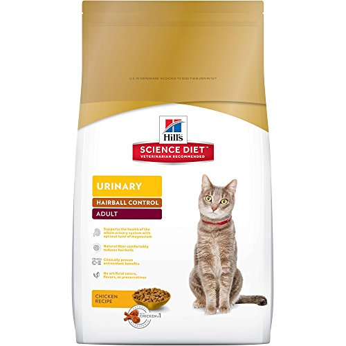 Hill's Science Diet Dry Cat Food, Adult, Urinary & Hairball Control, Chicken Recipe, 15.5 lb Bag (Best Dog Food To Prevent Urinary Tract Infections)