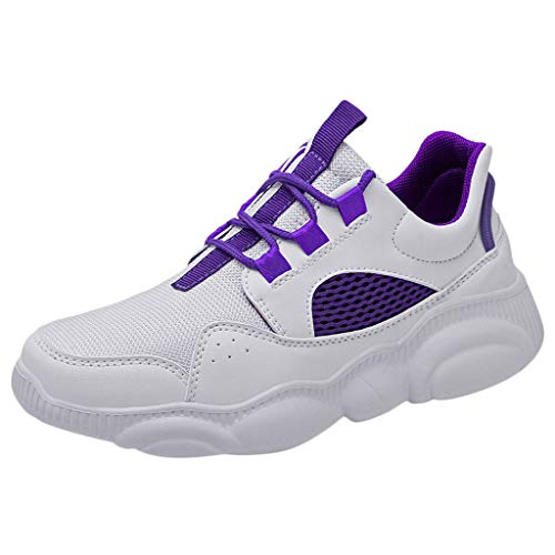 Inch 4 Boot 1/2 Knee (LUCAMORE Men Women Sneakers Casual Walking Hiking Mesh Breathable Fashion Sport Shoes Purple)
