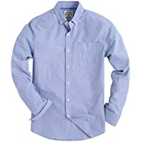 Piero Lusso Men's Long Sleeve Shirt Regular Fit Solid Color Oxford Casual Button Down Dress Shirt