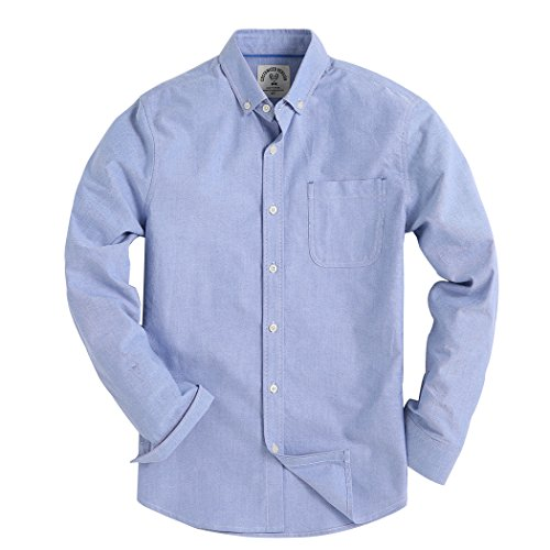 Piero Lusso Men's Long Sleeve Shirt Regular Fit Solid Color Oxford Casual Button Down Dress Shirt Blue Large