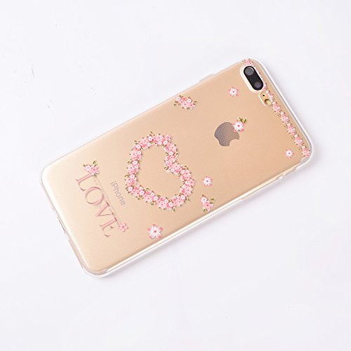iPhone 7 Plus Coque , Leiai Mode Love Ultra-mince Transparent Clear Silicone Doux TPU Housse Gel Etui Case Cover pour Apple iPhone 7 Plus