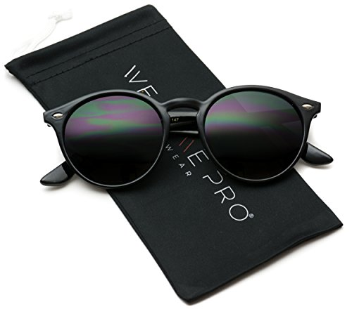 WearMe Pro Classic Small Round Retro Sunglasses, Black Frame/Black - Retro Sunglasses Womens