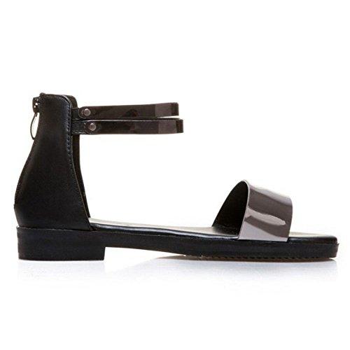 Chaussures Plat Femmes VulusValas Black Sandales q51EXwx