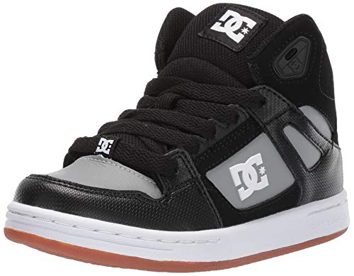 DC Boys' Pure HIGH-TOP Skate Shoe, Black/Grey, 4 M M US Big Kid