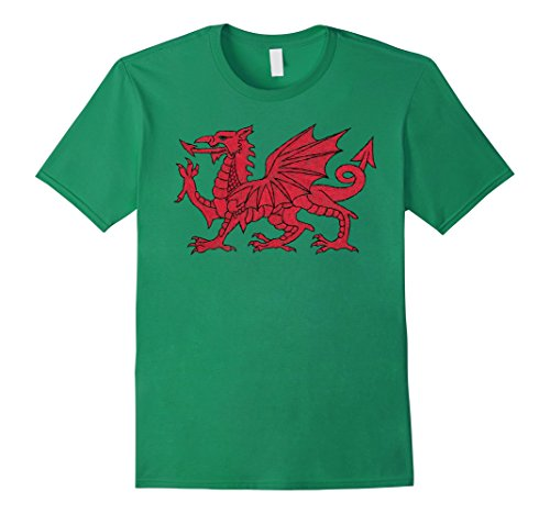 Men's Wales Welsh CYMRU Dragon for Soccer or Other Sports T-Shirt Large Kelly Green