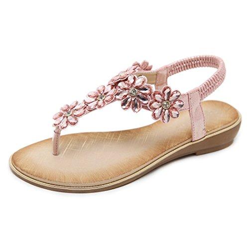 Women's Rhinestone Flat Sandals Glitter Shoes T-Strap Wedding Thong Sandals 3016 - Sandals Pink Beaded