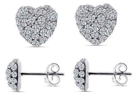 925 Sterling Silver Cubic Zirconia Heart Shape Stud Earrings