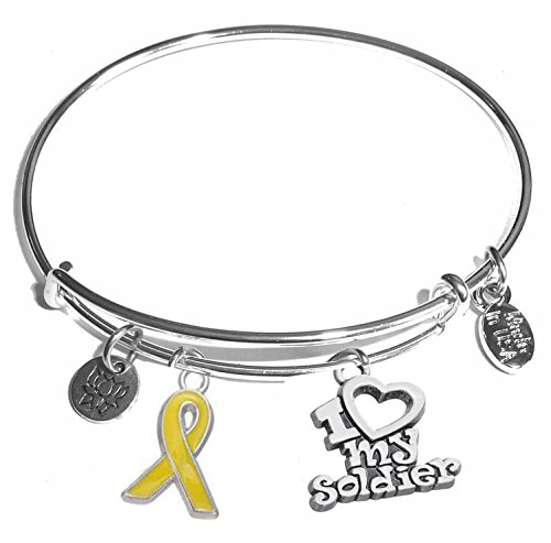 Message Charm (46 words to choose from) Expandable Wire Bangle Bracelet, in the popular style, COMES IN A GIFT BOX! (I Love My Soldier)