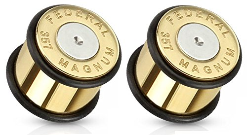 Pair of Bullet 357 Magnum Gold Tone Large .357 Bullet Shell Ear Plugs O-rings (1/2