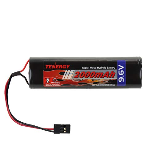 (Tenergy NiMH Receiver Battery Pack with Hitec Connectors 9.6V 2000mAh High Capacity Futaba Battery Pack, Square NT8S600B Rechargeable Battery Pack for RC Receivers, Airplanes, and)