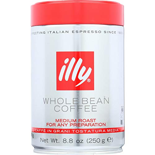 illy Coffee, Whole Bean, Medium Roast, 100% Arabica Bean Signature Italian Blend, Premium Gourmet Roast Pressurized Fresh 8.8 Ounce Tin, For All Preparations, Case Pack of 6