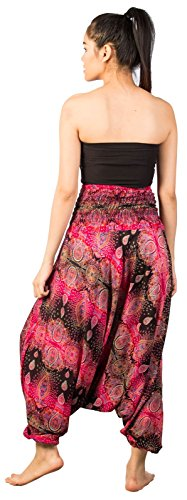 Lofbaz Jumpsuit Pantalones Harem de cintura Ojo de la flor fruncido para Mujeres Floral 3 Negro & Rosa