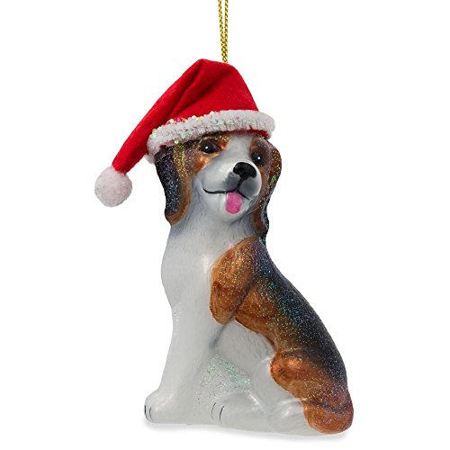 BestPysanky Beagle Dog with Santa Hat Blown Glass Christmas Ornament 4 Inches