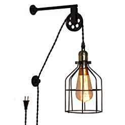 Interior Lighting Modern Industrial Rustic Cage Wall Lamp Lift Pipe Pulley Lights Fixture – Retro Pendant Lamp Adjustable Hanging with… modern wall sconces