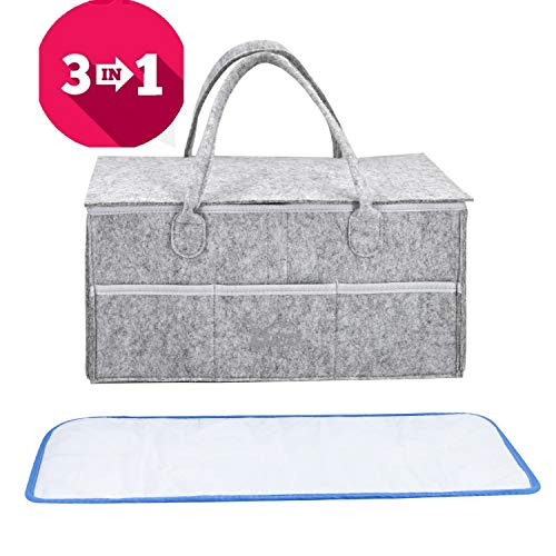 Baby Diaper Caddy Organizer - Baby Shower Gift Basket for Boys Girls Diaper Tote Bag Nursery Storage Bin for Changing Table Newborn Registry Must have Portable Travel Car Organizers with Cover and Pad