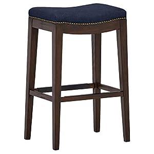 "Amazon Brand – Stone & Beam Elden Nailhead-Trim Saddle Kitchen Counter Backless Bar Stool, 30""H, Blue"