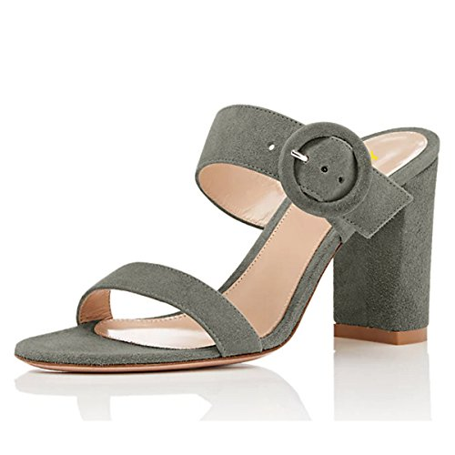 YDN Women Dress Chunky High Heels Sandals Slip On Pumps Open Toe Suede Shoes Grey