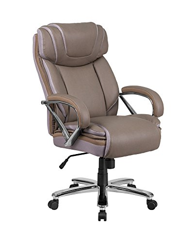 Offex OFX-436217-FF Big and Tall Leather Executive Swivel Chair with Extra Wide Seat – Taupe