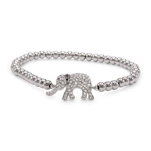 [Elephant Brass Charm Bracelet CZ (Silver tone)] (Brass Elephant Charm)