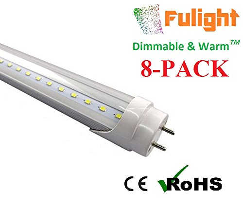 - (8-PACK) Fulight Dimmable & Warm ¤ T8 LED Tube Light - T8 4FT 18W (34W Equivalent), Warm White 3000-3500K, F32T8, F34T12/WW, Double-End Powered, Clear Cover,110/120VAC - Fluorescent Replacement