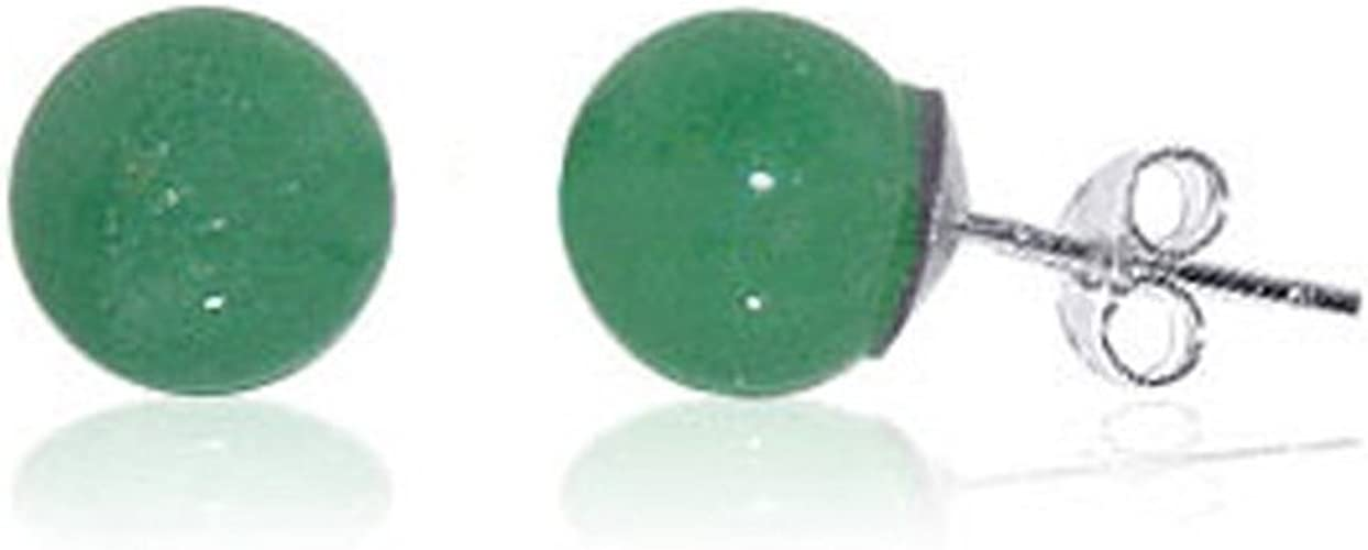 Women Ear Studs 6-8mm Round Natural Green Agate  Earrings  S925 Sterling Silver