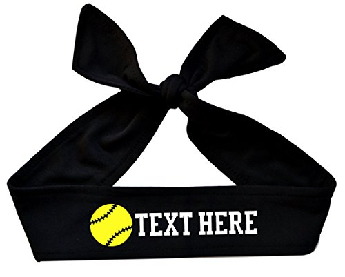 Funny Girl Designs Softball Tie Back Headband with NEON Yellow Softball Personalized with Your Custom Text - Design Your OWN (Black) -