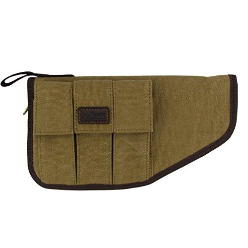TOURBON Canvas Hand Gun Pouch Pistol Rug with Gun Accessories Pocket by TOURBON