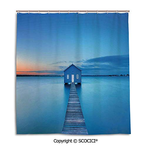 - Simple bathroom curtain personality privacy convenience,66X72in,Lake House Decor,Sunrise Over Water Lakehouse Cabin Boardwalk Sunlight Clouds Horizon Nature,Blue Orange Gray,Used for bathing privacy