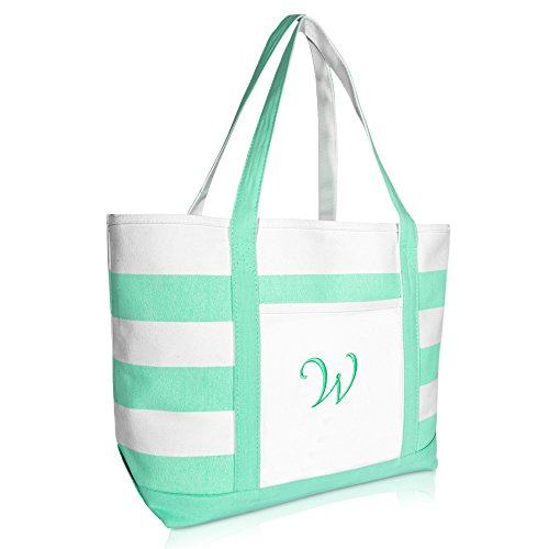Canvas Monogrammed Bags Tote - DALIX Monogram Beach Bag and Totes for Women Personalized Gifts Mint Green W