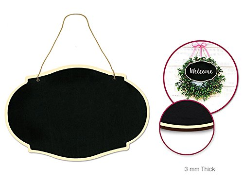 Quasimoon PaperLanternStore.com Oval Chalkboard Hanging Wall Plaque Wooden Sign, Double-Sided w/Jute Cord (Hanging Oval Wood Plaque)