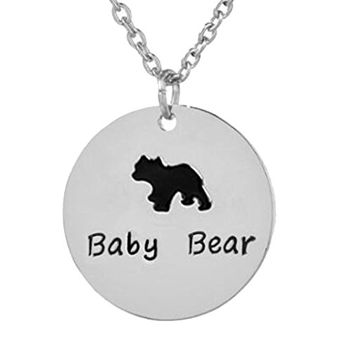- Cute Animal Round Baby Bear Pendant Necklace Silver Plated Birthday Gift for Kids Son Daughter Gifts