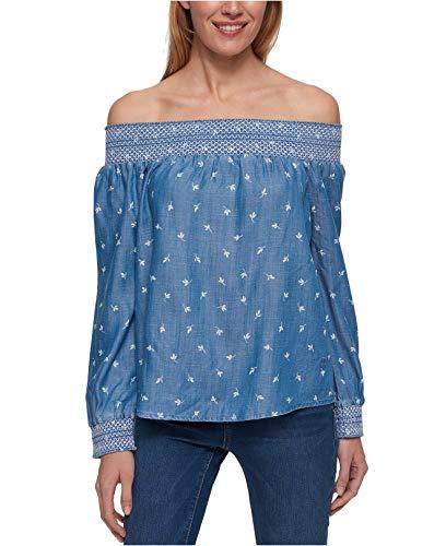 s Off-The-Shoulder Smocked Blouse Blue XL ()