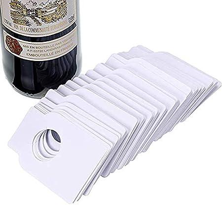 Srup 100 Piezas Etiquetas para Botella de Vino, Etiquetas para Botellas de Vino en Blanco, Etiquetas de Vino de Botellas, Se Utiliza para Marcar Etiquetas de Botella de Vino