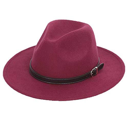Bowler Hat Shallow Fedora Hats Classic Unisex Solid Color Belt Gold Buckle Large Size Cap Wool Warm Wine 56-58CM