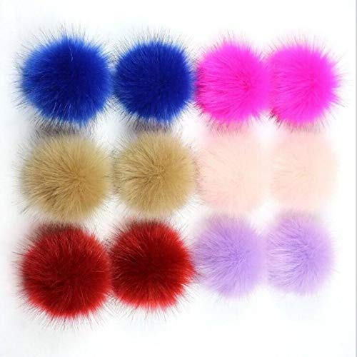 """Price comparison product image 12pcs DIY Faux Fox Fur Pom Pom Balls for Knitting Hat Fluffy Pom Poms for Crocheted Hats Shoes Bags 4"""" Diameter (Style2,  12 pcs)"""