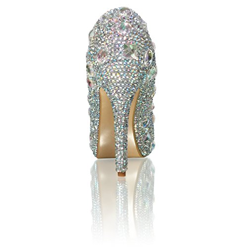 Marc Defang New York Womens Handgemaakte Ab Crystal Diamond Frost Bruids Hakken