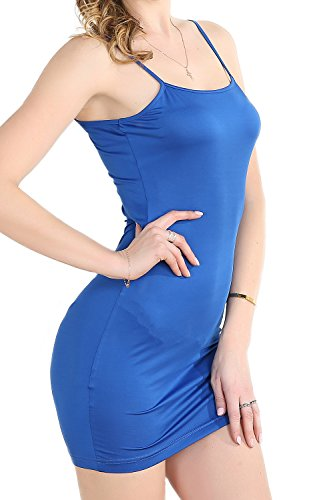 Blue Slip (Chifave Women's Sexy Seamless Bodycon Spaghetti Strap Cami Slip Under Mini Dress(Blue,S))