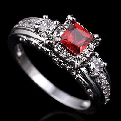 FidgetGear 4.5MM Princess Cut Stone Wedding Ring Silver for Wife 8 Red ()