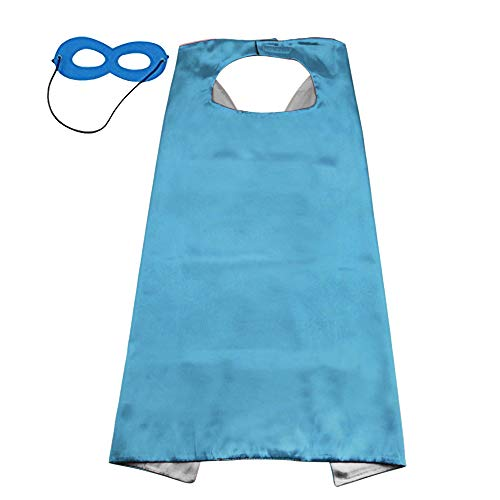 LYNDA SUTTON Child Cape DIY Capes for Toddler Boys Royal Blue and Silver Double Color & Blue Mask