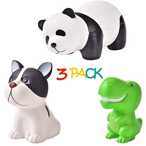QIJUN Jumbo Squishy Toys Squishies Panda Squishies Dinosaur Dog Kawaii Squishies Slow Rising Squeeze Soft Novelty Toy Stress Relief Toys Party Gifts Decorative Props Large(3 Pack)