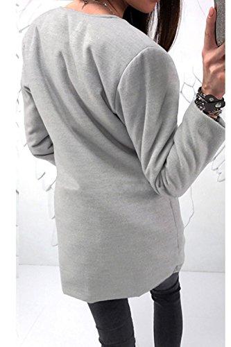 gris Mujer Chaqueta Redondo Scoop La Bolsillos Elegante Zip Con Larga Full Cuello Otoño Es Up 6qvpwC