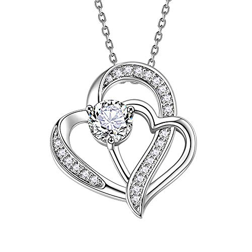 - SAM & LORI Double Heart Necklace Pendant Gifts for Women 5A Cubic Zirconia Platinum Plating Infinity Love Jewelry for Mom Mother Girlfriend Ladies