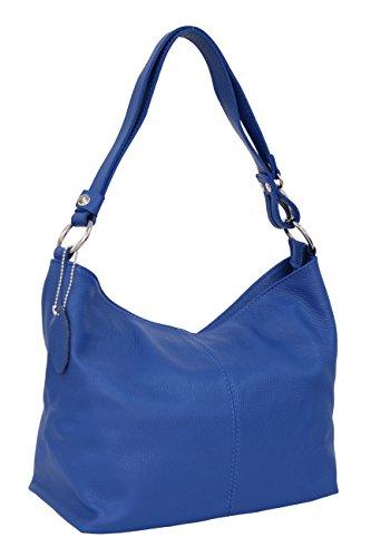 AMBRA Moda - GL005 - Bolso de hombre de cuero para mujer - Estilo hobo, color Azul, talla M