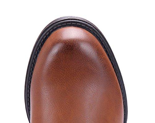 Schuhtempel24 Damen Schuhe Klassische Stiefeletten Stiefel Boots Blockabsatz Schnalle/Nieten 3 cm Camel