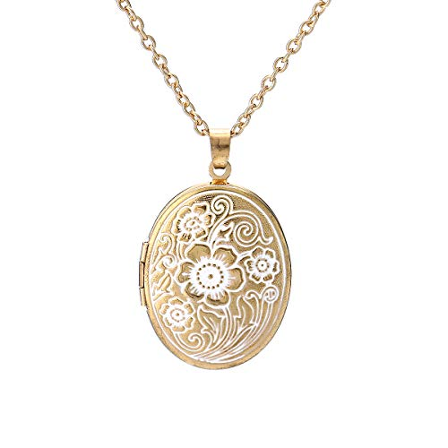 Vintage Engraved Flower Photo Locket Picture Pendant Necklace Gold Carved Heart Shaped Pattern Memorial Jewelry for Women-Oval