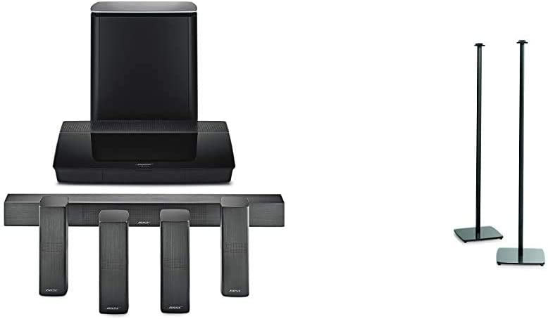 Bose Lifestyle 650 Home Entertainment System, Works with Alexa - Black & OmniJewel Floor Stand, Black
