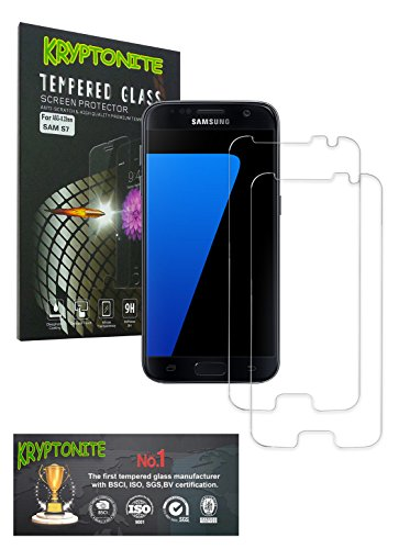 Vidrio Glass - KRYPTONITE Protector de Pantalla de Vidrio para Samsung Galaxy S7 Cubre y Protege la Pantalla de tu Galaxy S7 de Caídas, Impactos o Rayones con este Protector de Pantalla Invisible (2-Pzs)